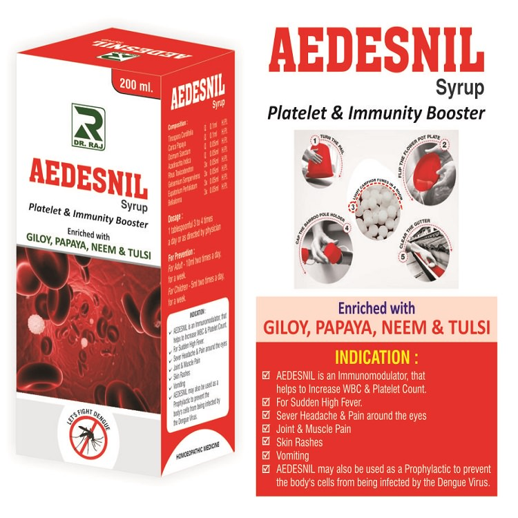 Dr Raj Aedesnil Syrup enriched with Giloy, Papaya, Neem and Tulsi for immunity