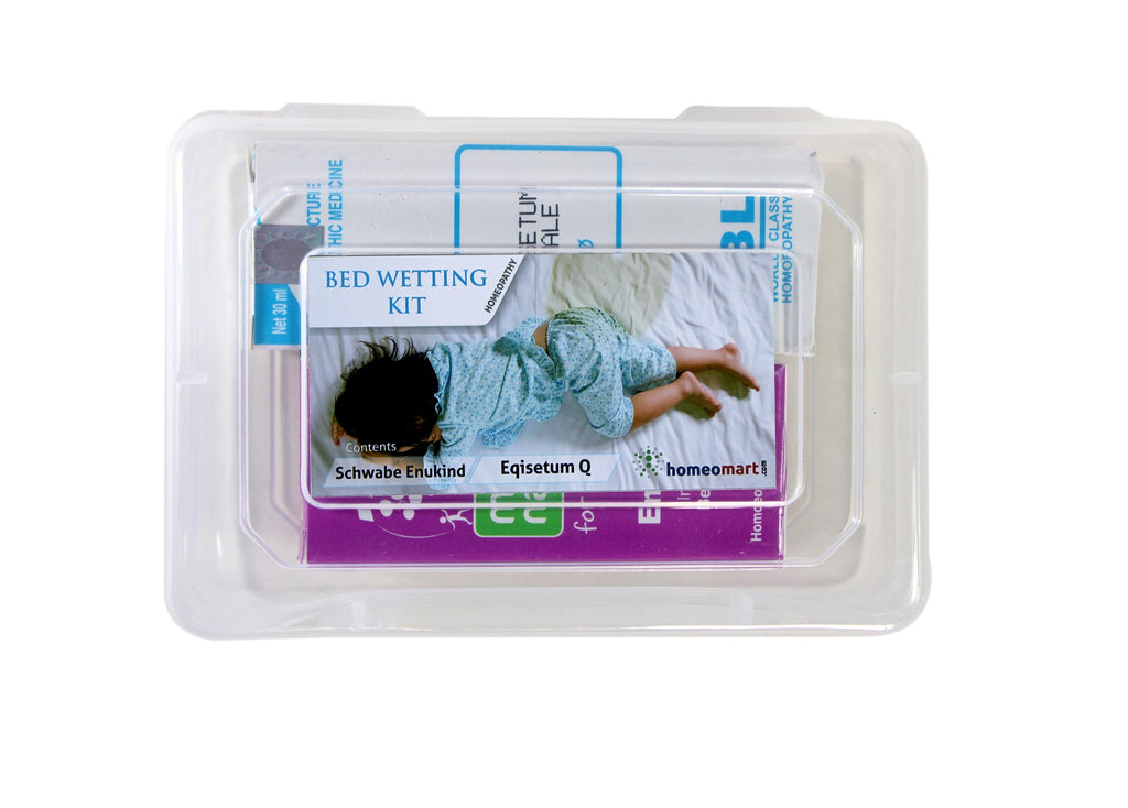 image of child in wet bed with bedwetting medicines, bladder weakness in children