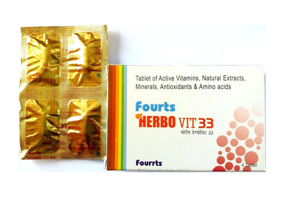 Fourrts Herbo Vit33 Tablets with Active minerals, Antioxidants, Amino Acids (Health Supplement)