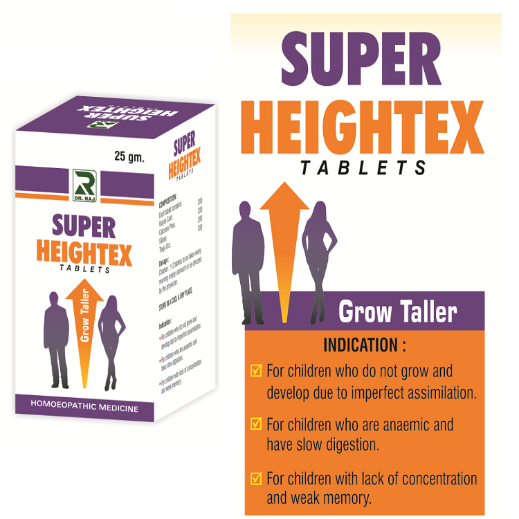 Dr Raj Super Heightex Tablets to increase height (Single, Pack of 2 & 3)