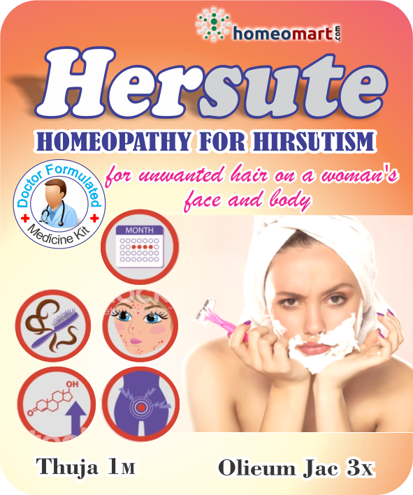 Hersute for Hirsutism, Unwanted hair growth in women, Thuja 1M, Oleum Jec