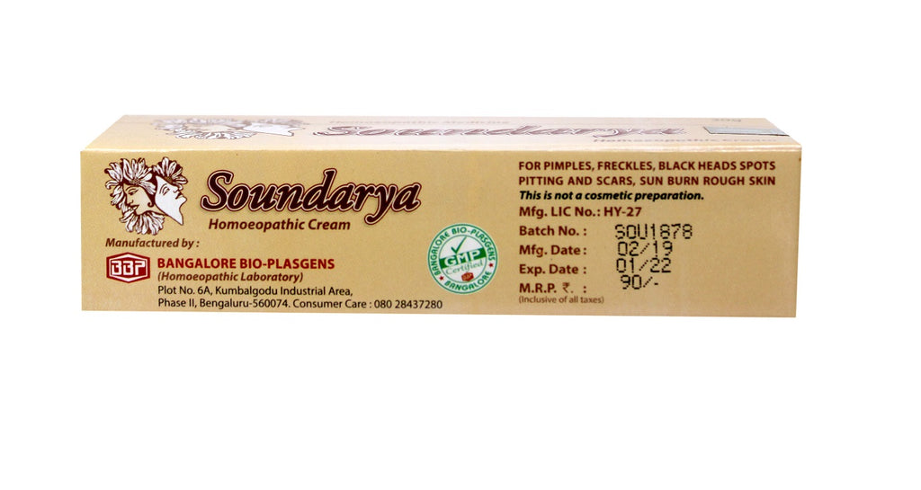 soundarya homeopathy cream indications batch price