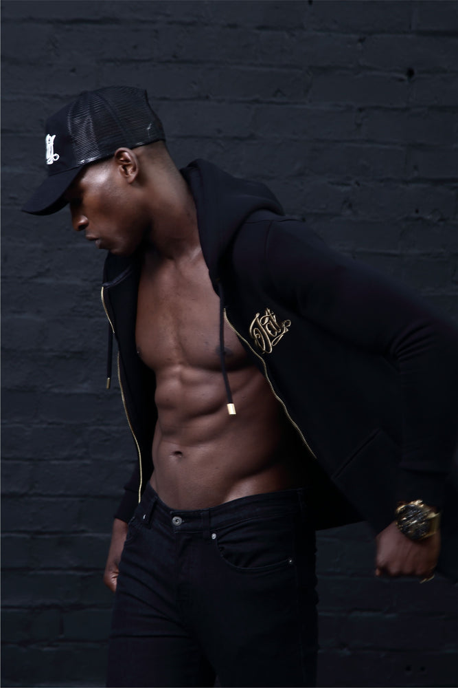 Jakd Fitted Zipped Hoodie - Black/Gold