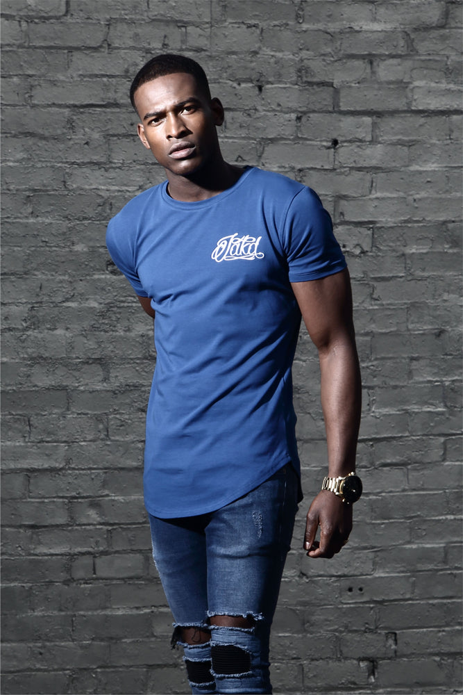 Jakd Longline Fitted T-Shirt - Atlantic/White