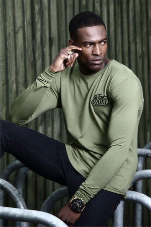 Jakd Longline Fitted T-Shirt - Olive/Black