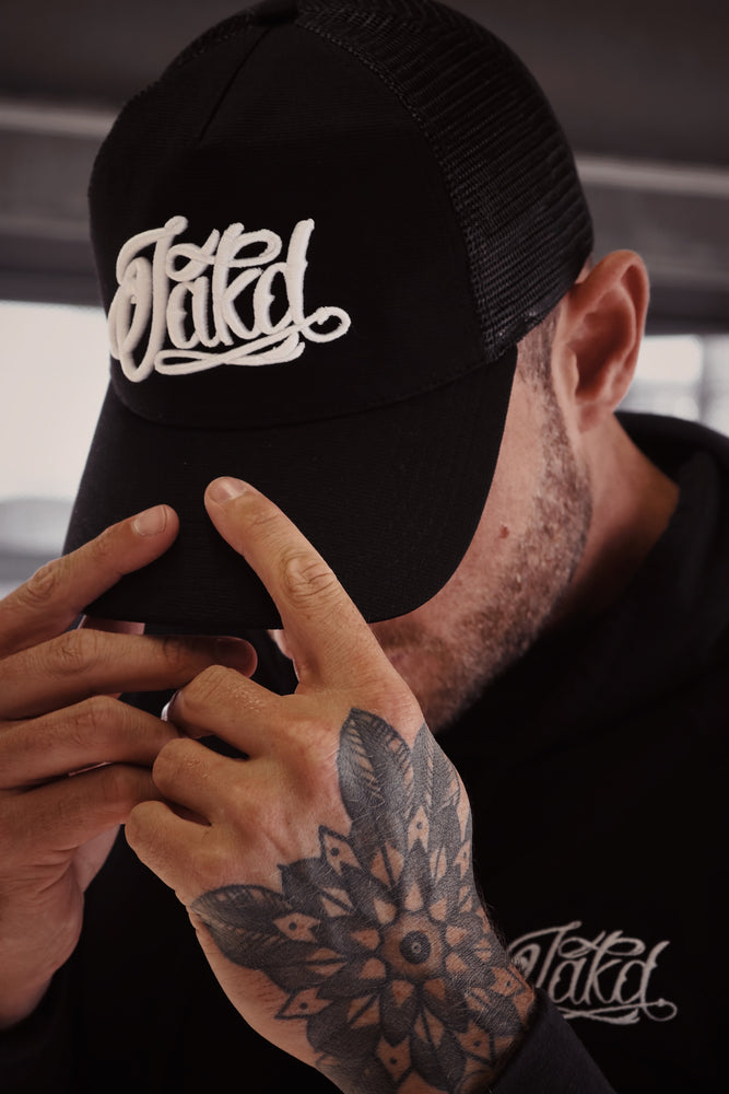 Black/White 3D Embroidered Logo Trucker Cap