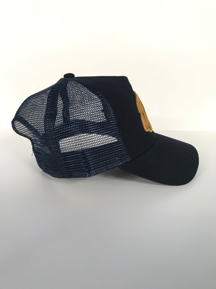 Navy/Gold 3D Embroidered Logo Trucker Cap