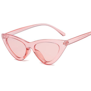 ZXWLYXGX 2018 Small Cateye Triangle Sunglasses Sexy Women Brand Vintage Cat Eye Frame Tint Red Mirror Lens Sun Glasses Shades