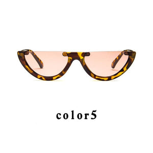 Sunglasses Cool Trendy Half Frame Rimless Cat's Eye Sunglasses Women 2018 Fashion Clear Brand Designer Sun glasses For Female