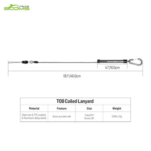 T08 Fishing Coiled Lanyard with Aluminum Alloy Sleeve