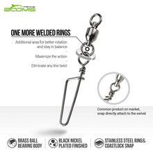 Load image into Gallery viewer, Booms Fishing BBC Ball Bearing Swivel Coastlock Snaps 15lb to 250lb