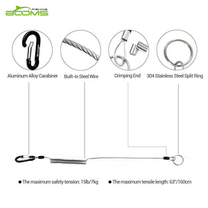 T01 Coiled Lanyards for Fishing Rods and Fly Fishing Nets