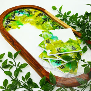 Eucalyptus Leaves Tray & Coasters