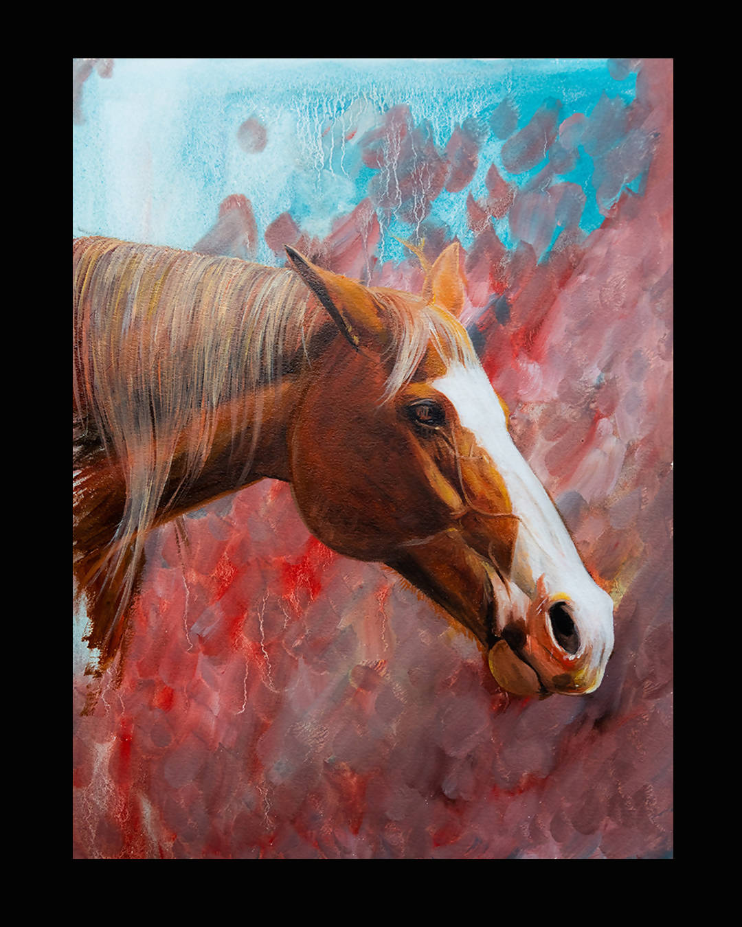 PALOMINO HORSE COLOUR STUDY | ORIGINAL OIL ON PAPER