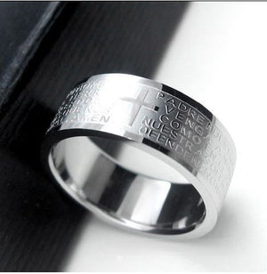 Black Spiritual Ring for Men & Women with Silver Text from Bible