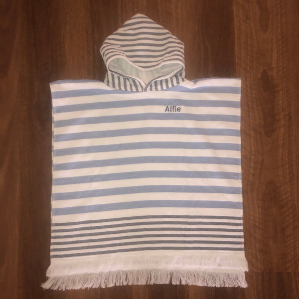 Blue/White Hooded Beach Towel