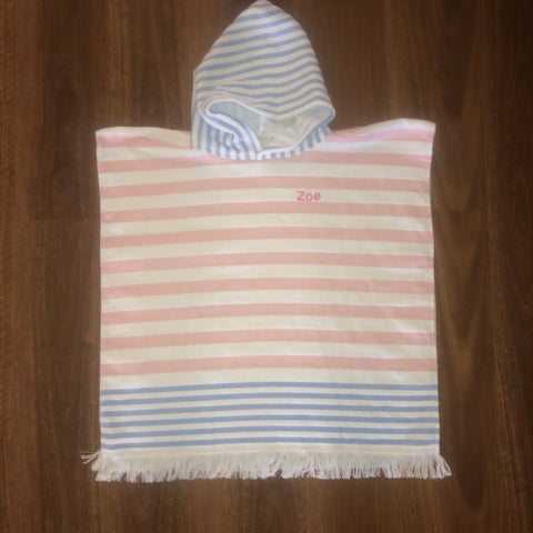 Pink/White Hooded Beach Towel