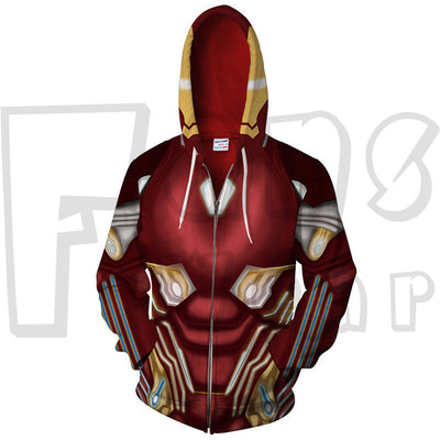 Heroes Assamble  Zip Up Hoodie - Iron Man Sweatshirt