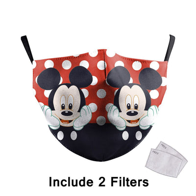 Cute Cartoon Print Face Mask Fabric Adult Mouth Masks