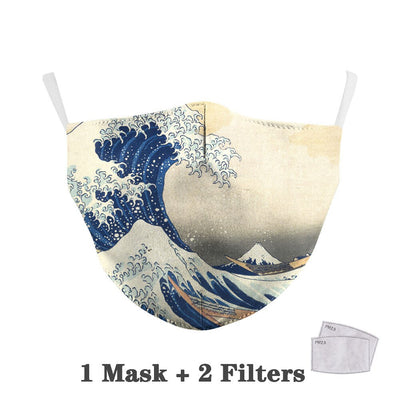 Flower Print Face Mask With 2pc  Filters