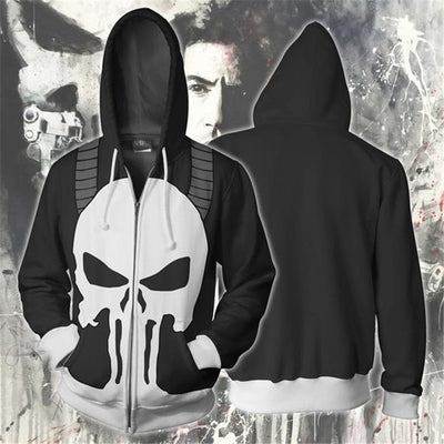 Marvel Frank Castle Cosplay Zip Up Hoodie Mans Sweatshirts