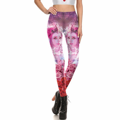 Women 3d Printed Rose Skinny Color Ankle Sports Legging Suit
