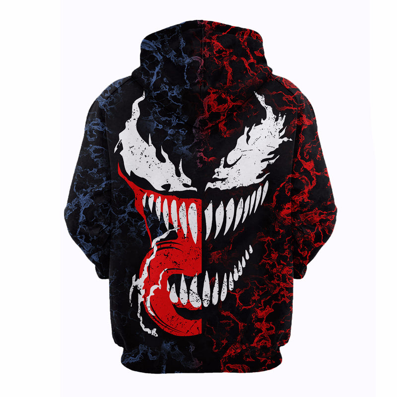 Marvel Venom Cosplay Mens Long Sleeve 3D Printed Hoodies for Marvel Movie Fans
