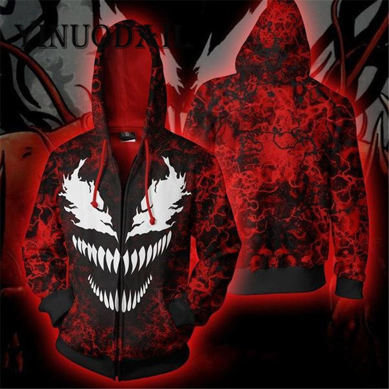 Red Marvel Venom 3D Hoodies for Women & Men Sweatshirt