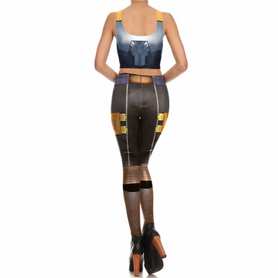 Armor Cosplay 3d Printed Women Sexy Vest Leggings Set