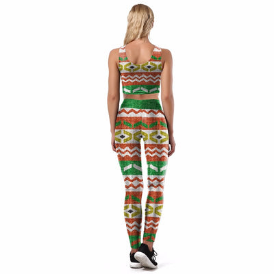 Creative Funny Geometric Printed Women Sexy Vest Leggings Set
