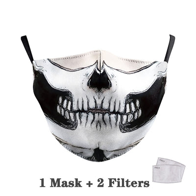 Big Mouth Skull Print Face Fabric Masks
