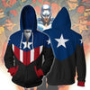 Captain America Hoodies - Bucky Cap Cosplay Zip Up Hoodie