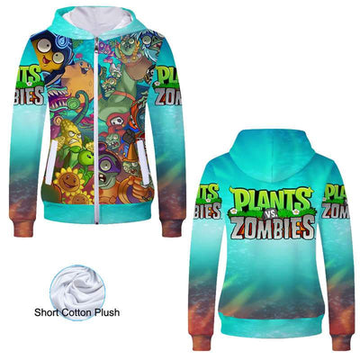 Anime Sweatshirt - Plants vs. Zombies Unisex Zip Up Hoodie