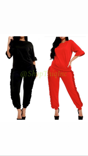 2 pcs jogger set Red or Black