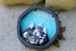 Ombre Blue Hexagon Diorama Necklace - necklace - [variant_title] - [option1] - [option2] - [option3] - Uprise Jewelry