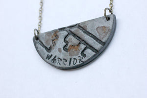 Word of the Year Warrior Stamped Crescent Necklace - necklace - [variant_title] - [option1] - [option2] - [option3] - Uprise Jewelry