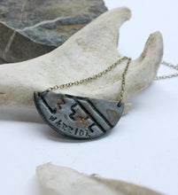 Word of the Year Warrior Stamped Crescent Necklace
