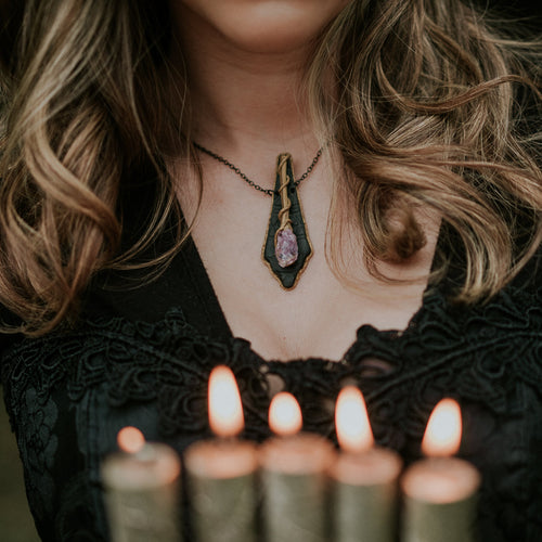 Amethyst Witch's Wand Statement Necklace - necklace - [variant_title] - [option1] - [option2] - [option3] - Uprise Jewelry