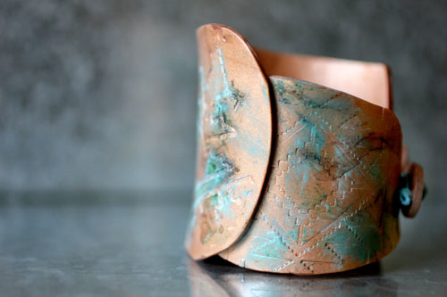 Tribal Boho Patina Copper Cuff Bracelet - Bracelet - [variant_title] - [option1] - [option2] - [option3] - Uprise Jewelry