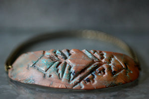 Patina Copper Polymer Clay Tribal Bib Necklace - Unparalleledcc