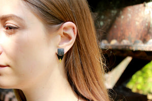 Black and Gold Geometric Double Sided Earring Jackets, Black Earrings - Earrings - [variant_title] - [option1] - [option2] - [option3] - Uprise Jewelry