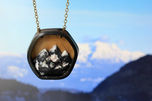 Hexagon Mountain Diorama Necklace - necklace - [variant_title] - [option1] - [option2] - [option3] - Uprise Jewelry