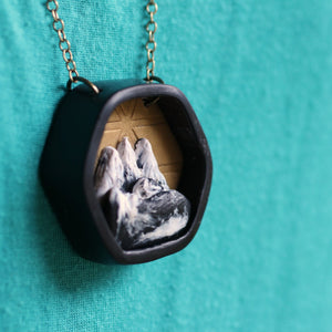 Hexagon Mountain Diorama Necklace - Unparalleledcc