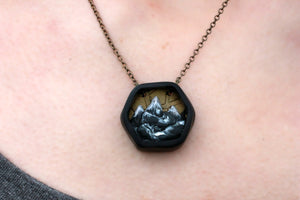 Small Hexagon Mountain Diorama Necklace - necklace - [variant_title] - [option1] - [option2] - [option3] - Uprise Jewelry