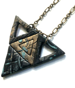 Dark Geometric Triangle Necklace