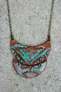 Patina Bronze Double Crescent Long Necklace - Unparalleledcc