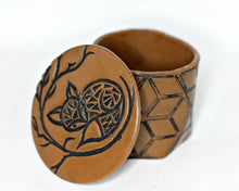 brown fox batik ring box sculpted from polymer clay
