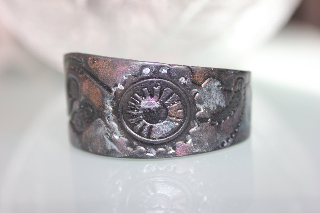 Black Polymer Clay Steampunk Bracelet - bracelets - [variant_title] - [option1] - [option2] - [option3] - Uprise Jewelry