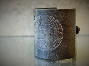 World Map Black Unisex Cuff Bracelet ~ Size 7.25 inches - Unparalleledcc