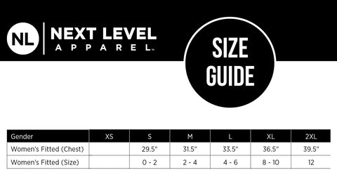 Next Level size chart